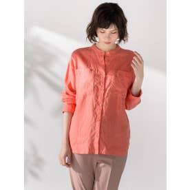 リネンバンドカラーシャツ (オレンジ)