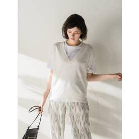 柄編みニットベスト Tシャツ付アンサンブル (ホワイト)