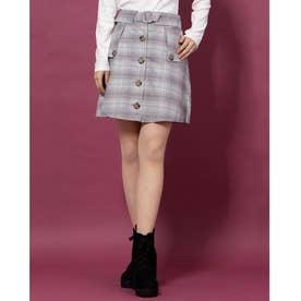 トレンチライクAラインスカート (グレー柄)