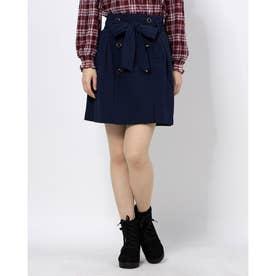 フロントボタンAラインスカート (ネイビー)