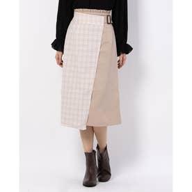 バイカラーラップIラインスカート (ベージュ柄)