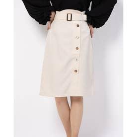 アソートボタンIラインスカート (ベージュ柄)