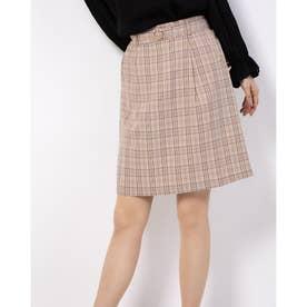 パールバックルIラインスカート (ブラウン柄)