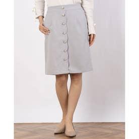 フロントボタンIラインスカート (L/グレー)