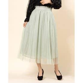 ○チュールドット刺繍スカート (ミント)