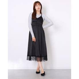 裾レースサテンキャミワンピ (ブラック)
