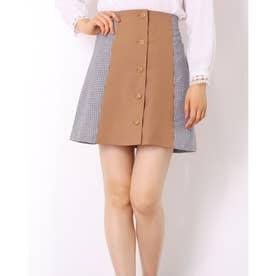 【WEB限定】サイドチェックAラインスカート (キャメル柄)
