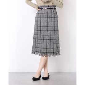 裾フリンジチェックIラインスカート (ブラック柄)