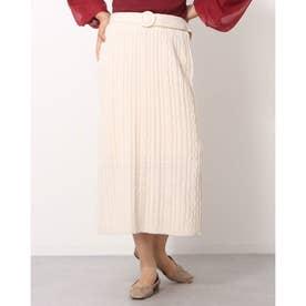 ケーブルロングIラインスカート (アイボリー)