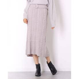 ケーブルロングIラインスカート (グレー)