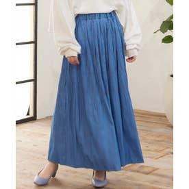 デニムマジョリカプリーツマキシスカート (ブルー)