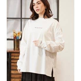 天竺フロント袖口刺繍Tシャツ (オフホワイト)