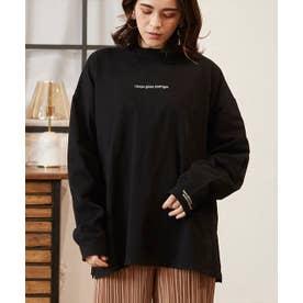 天竺フロント袖口刺繍Tシャツ (ブラック)