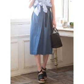 デニムラップ風ミディスカート ブルー