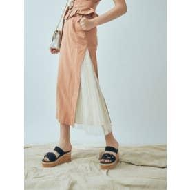 サイドプリーツブロッキングスカート(キャメル)