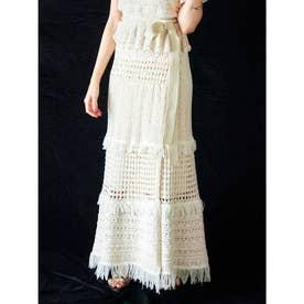 透かし編みラップスカート(アイボリー)
