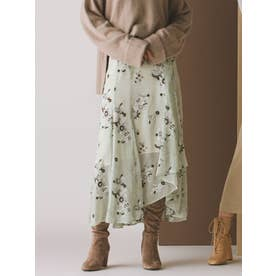 楊柳刺繍イレヘムロングスカート(ミントグリーン)