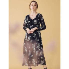 楊柳刺繍ロングワンピース(ブラック)