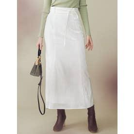 ベロアシアーストライプマーメイドスカート(オフホワイト)