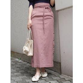ボタン付サイドスリットタイトスカート(ピンク)