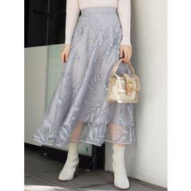 ドットチュール刺繍フレアスカート(ブルー)