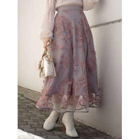 ドットチュール刺繍フレアスカート(パープル)