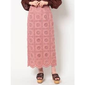【To/】カットワーク刺繍ペンシルスカート(ピンク)