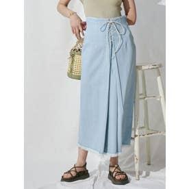 デニムレースアップタイトスカート(アイスブルー)