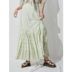 カットワーク刺繍タイルパターンスカート(グリーン)