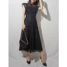 レースハイネックドレス(ブラック)