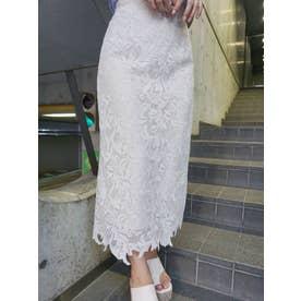 リーフケミカルレースタイトスカート(オフホワイト)