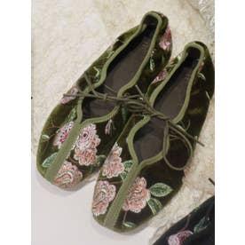 flower刺繍リボンフラットシューズ(グリーン)