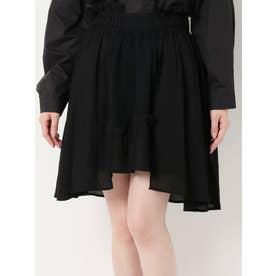 レイヤードアシメガーゼスカート(ブラック)