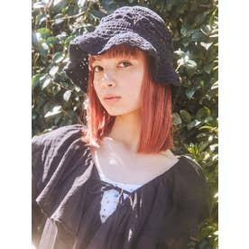 cotton crochet hat(ブラック)