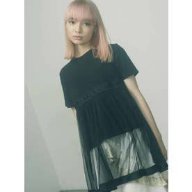 チュールレイヤードTシャツ(ブラック)