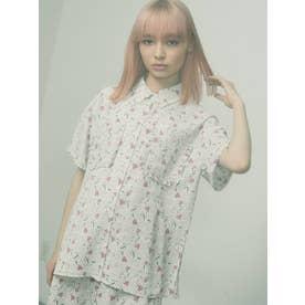flower×dotフリルカラーシャツ【セットアップ着用可能】(オフホワイト)