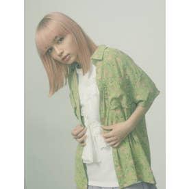 flower×dotフリルカラーシャツ【セットアップ着用可能】(グリーン)