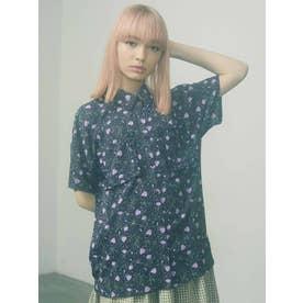 flower×dotフリルカラーシャツ【セットアップ着用可能】(ネイビー)