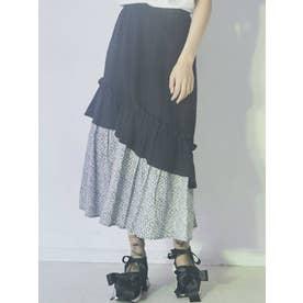 floralティアードフレアスカート(ブラック)