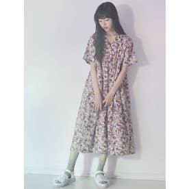 flowerオープンカラーシャツワンピース(ピンク)