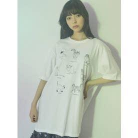 猫図鑑Tシャツ(オフホワイト)