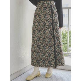 ジャガードフリルラップスカート(ブラック)