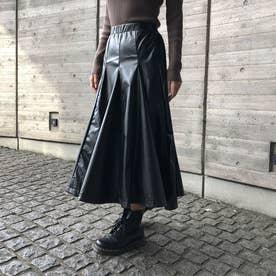 エコレザーパネルスカート (ブラック)