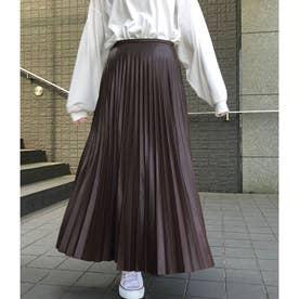 エコレザープリーツスカート (ブラウン)