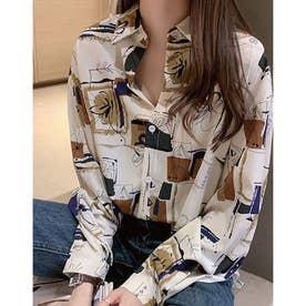 アートフラワープリントシャツ (ホワイト)