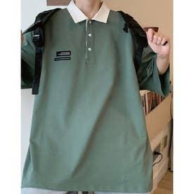 襟配色BIGシルエットポロ (グリーン)
