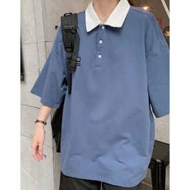 襟配色BIGシルエットポロ (ブルー)