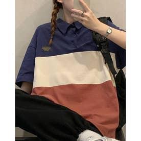 ビックシルエット配色ポロシャツ (ネービー)