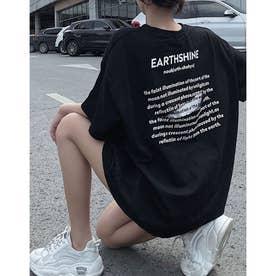 バックダメージスリットロゴプリントTシャツ (ブラック)