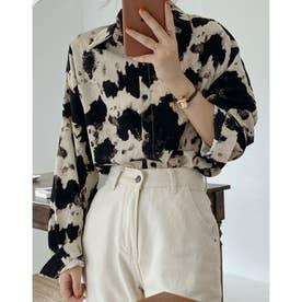 COW柄 BIGシルエットシャツ (ライトベージュ)